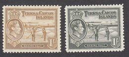 Turks & Caicos 1938  2 Values  1/-    SG202, SG202a   MH - Turks And Caicos