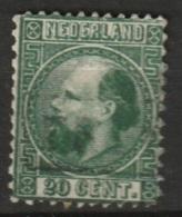 1867 Koning Willem III 20 Ct.  Type II  NVPH 10 Tanding A (12,75x11,75) - Gebruikt