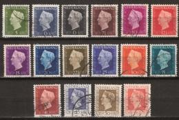 1947 Koningin Wilhelmina NVPH 474-489 Cancelled/gestempeld - Oblitérés