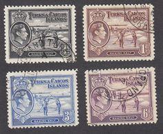Turks & Caicos 1938  4 Values  1/4d, 1d, 3d, 6d    SG194, SG196, SG200, SG201  Used - Turks And Caicos