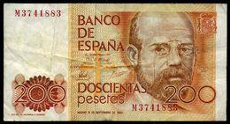 Espagne  Billet De 200 Pesetas   1980 - [ 4] 1975-…: Juan Carlos I.