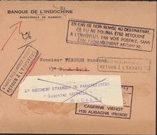 Lettre Banque De L'Indochine à Djibouti Pour Aubagne Réexpédiée Calvi Corse 16 2 71 2e Régiment étranger Parachutistes - Lettres & Documents