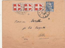 Affranchissement Composé Armoiries Savoie Gandon Lettre Cachet Castres Tarn 24/11/1950 Pour Albi - Marcophilie (Lettres)
