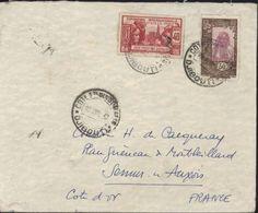 Côte Française Des Somalis YT 143 + 127 CAD 10 JUIL Djibouti Arrivée Sémur 22 8 37 - Lettres & Documents