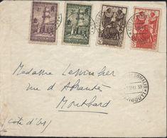 Côte Française Des Somalis YT 148 149 155 158 CAD 7 MAI 1939 Djibouti Arrivée Montbar Côte D'Or France 19 5 39 - Lettres & Documents