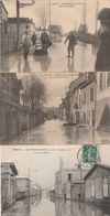 3 CPA:TROYES (10) RUE DE PREIZE,BARQUE RUE DES TAUXELLES,RUE BOUCHER DE PERTHES INONDATIONS JANVIER 1910.ÉCRITES - Troyes