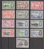 Turks & Caicos 1950  Set Of 13  SG221 To SG233  MH - Turks And Caicos