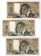 500 Frs- PASCAL- Lot De 3 Billets De 1977-1990 Et 1991 -( S.70-P.309- Q.341)  Cat Fayette N° 71 - Ayant Circulé (2) - 1962-1997 ''Francs''
