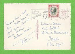FLAMME + BLOC DATEUR 19 AVRIL 1956 MONTE-CARLO Pte DE MONACO SUR CARTE POSTALE - Monaco