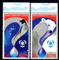 Moldavie Moldova 0560/61 Ours Polaire, Pingouin, Préservation Des Pôles - Arctic Wildlife