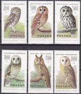 Tr_ Polen Poland 1990 - Mi.Nr. 3294 - 3299 - Postfrisch MNH - Tiere Animals Vögel Birds Eulen Owls - Eulenvögel