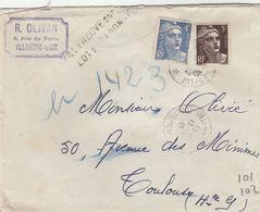 GANDON 3+4F SUR LR PROVISOIRE AU TARIF 2E ECH GRIFFE VILLENEUSE SUR LOT - LOT ET GARONNE 12/12/45 POUR TOULOUSE - Postmark Collection (Covers)