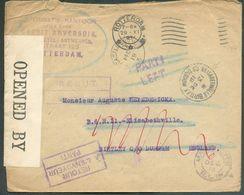 PAYS-BAS (timbre Parti) Obl. MécaniqueROTTERDAMsur Lettre Du 29-XI-1918 Vers Elisabethville-Birtley (13/12/18) (biffé) - Weltkrieg 1914-18