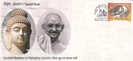 India  2019  Buddhism  Lord Buddha & Mahatma Gandhi  Srinagar  Kashmir  Special Cover  # 27481  CB & D Inde  Indien - Mahatma Gandhi