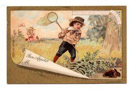 Chromo Liebig 1886 Bon Appétit Plan Table Carton Marque Place Jeu Enfant Fillette Garçonnet Chasse Lapin - Liebig