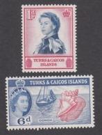 Turks & Caicos 1957   1d  And 6d     SG237 And SG244   MH - Turks And Caicos