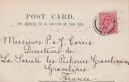 GRANDE BRETAGNE 1908 - CARTE HARROWAY & CO GRIMSBY POUR PECHERIES GRAVELINES - CHARBONS DE SOUTES - Storia Postale