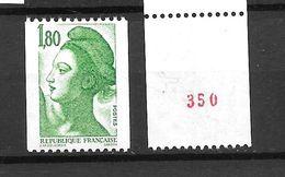 1986 - Liberté Numéro Rouge Au Dos -  YT 2378 - MNH** - Roulettes