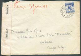 SUISSE N°295 - 30c. Obl. DcGENEVEsur Lettre Du 7-II-1941 Vers Matadi (à Bord Du Navire école 'Mercator') Avec Bande De - Congo Belga