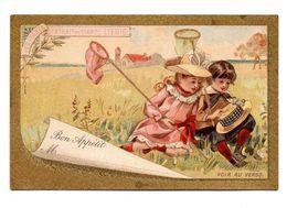 Chromo Liebig 1886 Bon Appétit Plan Table Carton Marque Place Jeu Enfant Fillette Garçonnet Chasse Papillon Filet - Liebig