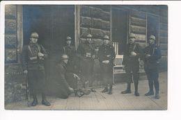 """Carte Photo Militaire Soldat à Identifier Mitrailleuse Fusil Souvenir Du Poste De La Mission Intérallier """" Voir Au Dos """" - Matériel"""