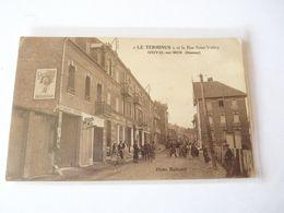 """A Vendre Belle Carte D' Onival.""""LE TERMINUS"""" Et La Rue Saint Valéry .rare Et Très Animée. Petit Prix - Onival"""