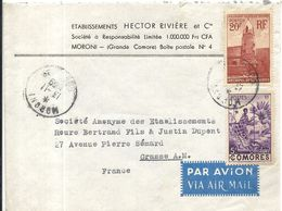 LETTRE DE MORONI PAR AVION POUR ROURE BERTRAND A GRASSE - Comores (1950-1975)
