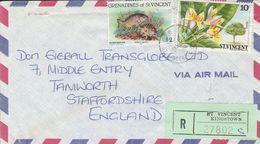 GRENADINES OF St. VINCENT 1984 REGISTERED COVER TO UK - St.Vincent & Grenadines