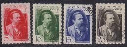 Russie URSS 1935 Yvert 565 / 568 Obliteres 40eme Anniversaire De La Mort De Engels. - 1923-1991 USSR