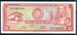 """PEROU - BILLET  DIEZ SOLES DE ORO """" BANCO CENTRAL DE RESERVE DEL PERU"""" 17 /11/1976 - NEUF & LUXE - Peru"""