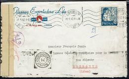 """Portugal -1942 """"Alianca Exportadora à Lisboa"""" N° 624 Seul Sur Env. Pour Beyrouth - Cachet Censorschip, Croix De Lorraine - Lettres & Documents"""