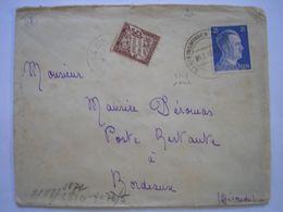 Enveloppe Affranchie Avec TP Allemand En Février 42 Pour Bordeaux Censure Allemande  + TP Taxe 50c - 2 Photos - Marcofilia (sobres)