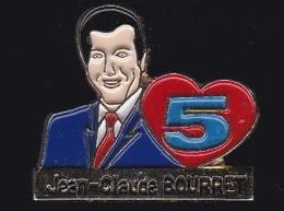 65742-Pin's-Télévision.médias.la 5.la Cinq.Jean-claude Bourret. - Médias