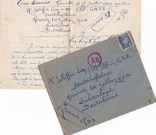 FRANCE LETTRE DE 1943 TIMBRES 4 FR PETAIN TYPE PROST/ N° 521A / TAMPON A DATE ? + TAMPON ROUGE Ae - Marcophilie (Lettres)