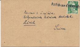 CARTE POSTALE 1952 AU TARIF IMPRIMES POUR LA SUISSE AVEC CACHET LINEAIRE PARIS EST ETRANGER - Bahnpost
