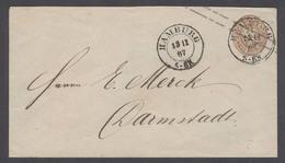 123gone. GERMAN STATES-PRUSIA. 1867 (13 Nov). Hamburg - Darmstadt. 3gr Brown Stat Env. Fine. - Germany