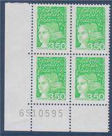 Variété 2 Bandes De Phosphore 3f50 Marianne De Luquet Dite Du 14 Juillet La Poste Neuf Coin De Feuille Numéroté X4 N3092 - 1997-04 Marianne Of July 14th