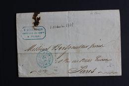 1848 LAC PARIS POUR PARIS CACHET BLEU PORT DÛ 15C A/S DU 04/11/1848 CACHET DE L'EXPEDITEUR..BELLE LETTRE. - 1801-1848: Précurseurs XIX