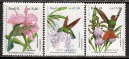 Brazil 1991 Mi# 2435-2437 ** MNH - BRAPEX VIII / Orchids And Hummingbirds - Colibris