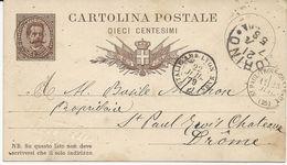 ENTIER POSTAL D'ITALIE 1879 AVEC CACHET D'ENTREE ITALIE AMB. LYON MARS C - Marques D'entrées
