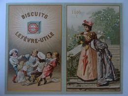 CHROMO LEFEVRE- UTILE 1896- Ronde D'enfants Et LES FEMMES AUX FLEURS.. ETAT NEUF. - Lu
