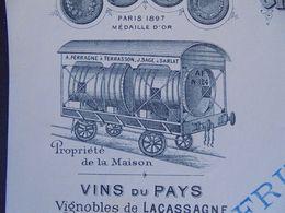 FACTURE - 24 - DEPARTEMENT De La  DORDOGNE - SARLAT 1912 - GRANDS ENTREPÔTS  DE VINS : JEAN SAGE - Zonder Classificatie