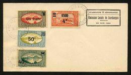 GUADELOUPE - YT 165 - 166 - 168 - 171 - ENVELOPPE EMISSION LOCALE DE SURCHARGES 1944 - Storia Postale