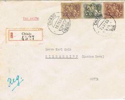 36843. Carta Certificada Aerea CHIADO (Lisboa) 1955 To Suisse - 1910-... Republic
