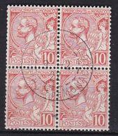 Monaco Prince Albert 1er 1901 Bloc De 4 N°23 Oblitéré Cachet Rond - Monaco