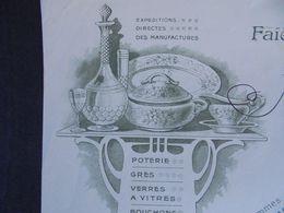 FACTURE - 24 - DEPARTEMENT De La  DORDOGNE - SARLAT 1914 - FAIENCES, PORCELAINES, VERRERIE.. J.L. LARIVIERE - Zonder Classificatie