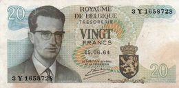 BELGIO-20 FRANCS-1964  P-138a - [ 6] Treasury