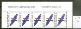 BELGIE * Nr 2519 * 5 Stuks - 75 Frank/franc / 186 Euro * Postfris Xx - Belgium