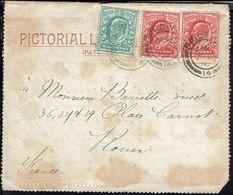 """Gr-Bretagne - 1907 """"Pictorial Letter Card"""" - Affranchissement à 2,5 P. De Brighton Pour Rouen (Fr) - Storia Postale"""