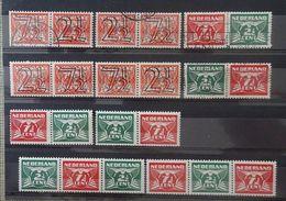 NEDERLAND   Traliezegels  Samenstelling Uit Reeks 1940   356 A - 356 D / 379 A - 379 D    Gestempeld / Scharnier * - Unused Stamps